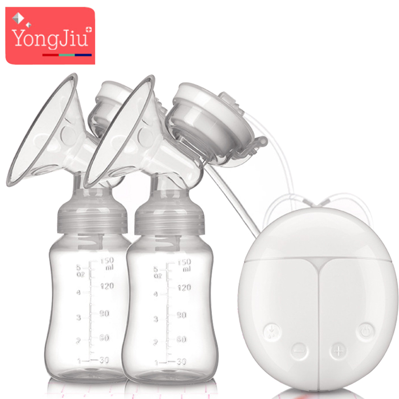 YONG JIU USB Double Electric breast pumps Powerful Silicone Nipple Big Suction milk Pump with baby bottle Nipple Pad BPA Free brand cold heat pad double breast pumps with milk bottle electric powerful nipple suction usb breast pump mothers breast feeding