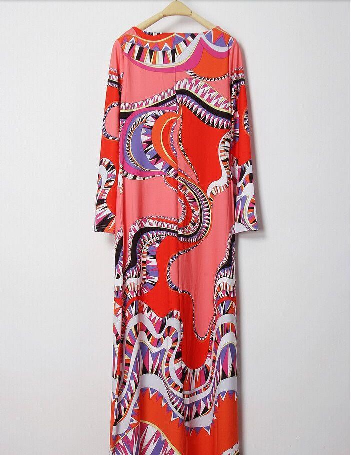 Luxe Soie Imprimer Maxi Arrivée Printemps Dress Longue Xxl Marques De Droite Bohème Jersey Manches Coloré 2015 Nouvelle Femmes Longues 7YRZa