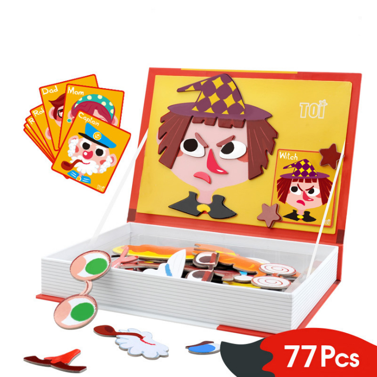 Magnetic book Human face puzzle children early education wooden puzzle Toys Stitching toys Early education and Enlightenment Toy montessori education wood blowers traditional blowing games interactive games children early education puzzle toys