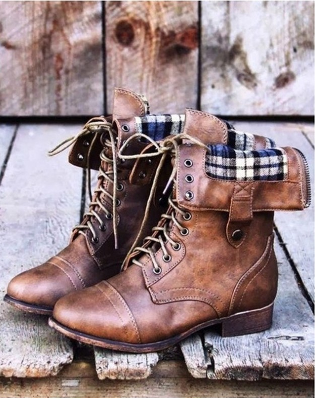 Autumn-winter-faux-leather-shoes-women-lace-up-retro-riding-mid-calf-boots-ladies-low-heels