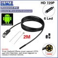 Negro 2.0MP HD 720 P 2 en 1 Android Endoscopio 8mm Lente 6 LED Impermeable Boroscopio Cámara de Inspección con 2 m Longitud de Cable USB