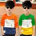 Vestuário 2017 das crianças meninos da longo-luva T-shirt de algodão 100% primavera e no outono criança T-shirt básica