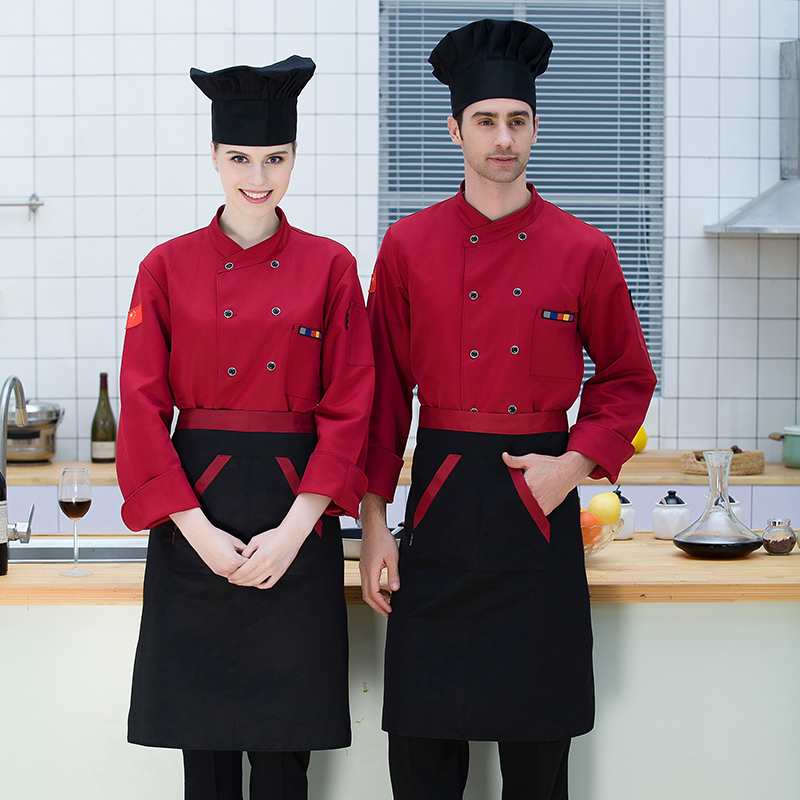 Autumn&Winter Chef's Long-Sleeved Jacket Hotel Restaurant Kitchen Men Women Top Waiter Work Clothes The Baker Uniform Overalls