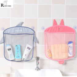 1pc Cartoon Wall Hanging Bathroom Cosmetic Storage Bag Knitted Net Mesh Bag Baby Bath Toys Make Up Organizer Container Hang Bags