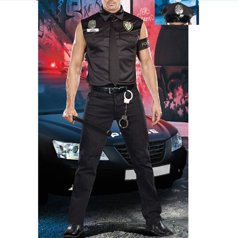 Male Police Costumes Boys Halloween Costume for men Deguisement Halloween Fancy Cosplay Dress