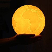 3D Print LED Earth Night Light Rechargeable Moon Lamp Dimmable USB Powered Touching Baby Nursery Gift