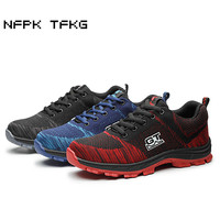 Mens Steel Toe Caps Work Safety Summer Shoes Large Size Breathable Comfort Construction Site Factory Tooling