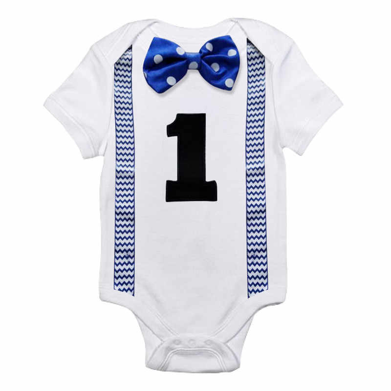 Baby Boys White Rompers Jumpsuits Newborn Baby 1 Year Birthday Party Romper Clothes Infant Clothing Toddler Boy Bow Tie Outfits