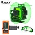 Huepar 12 линий 3D Зеленый Крест линии лазерный уровень самонивелирующийся 360 градусов вертикальные и очки для чтения лежа приемник usb зарядка