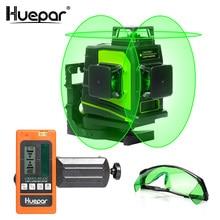 Huepar 12 линий 3D Зеленый Крест лазерной линии Уровень наливные 360 градусов вертикальная и горизонтальная очки приемник зарядка через usb