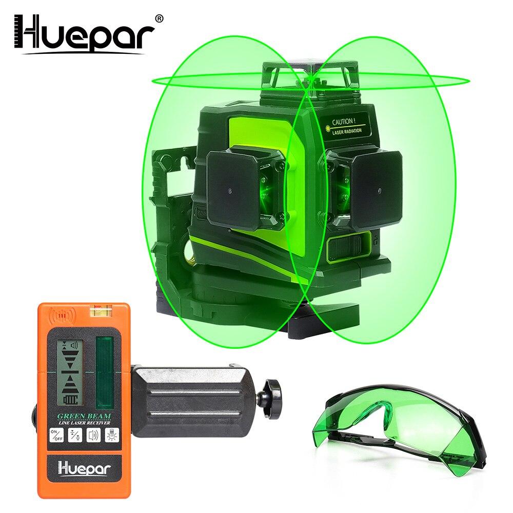 Huepar 12 linhas 3d verde cruz linha laser nível auto-nivelamento 360 graus vertical & horizontal óculos receptor de carregamento usb