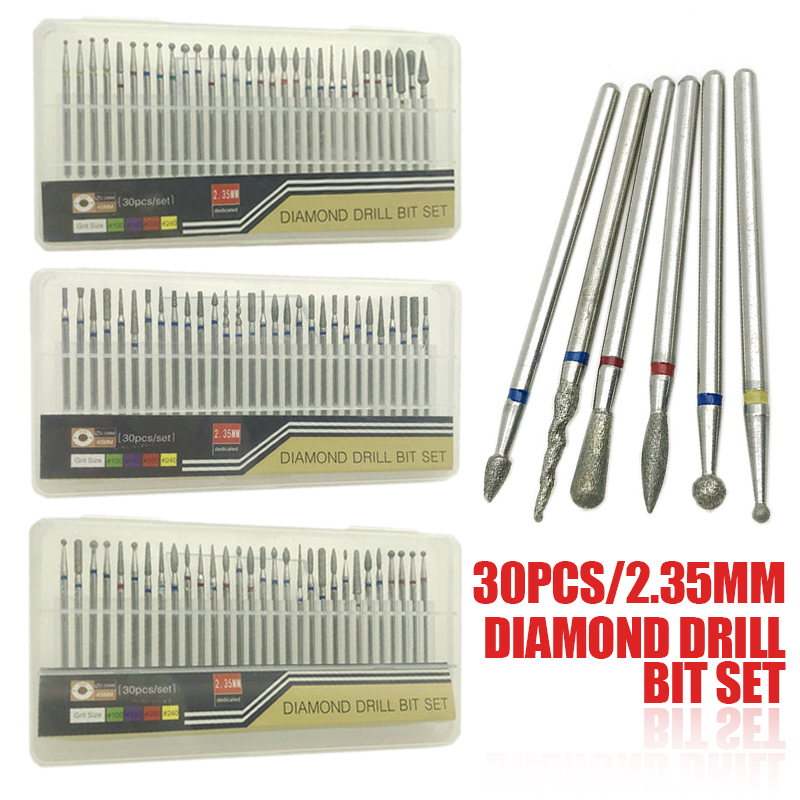 30pcs/set Diamond Nail Drill Bit Cuticle Manicure Pedicure Diamond Milling Cutter Cleaning Tool