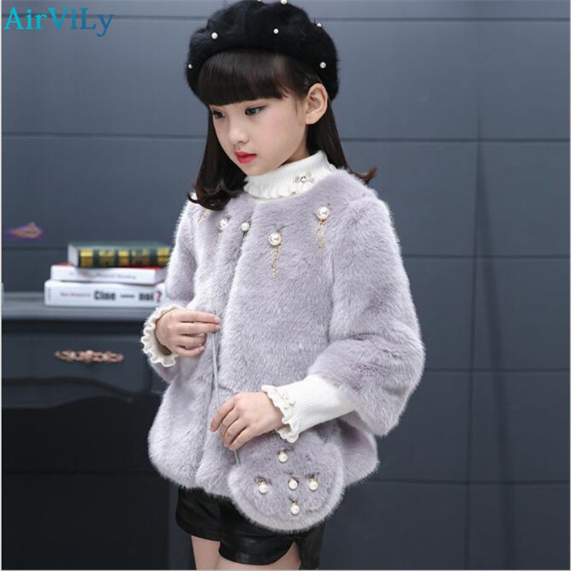 2018 Fashion Kids Girl Faux Fur Coat Trendy Spring Winter Children Fur Outerwear Jacket Warm Child Thickening Clothing fashion kids girl rabbit fur coat winter children natural rabbit fur outerwear jacket warm child thickening clothing