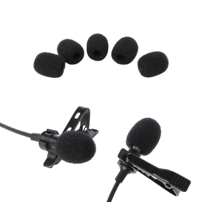 Black New 5X Round Ball Lavalier Microphone Cover Foam Windscreen Sponge Windshields 6mm Opening