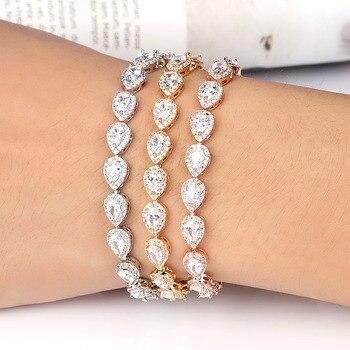 12987df32fc6 Baiduqiandu marca Sparkling Teardrop Cubic Zirconia cristal tenis boda pulseras  para mujer en oro rosa plata colores