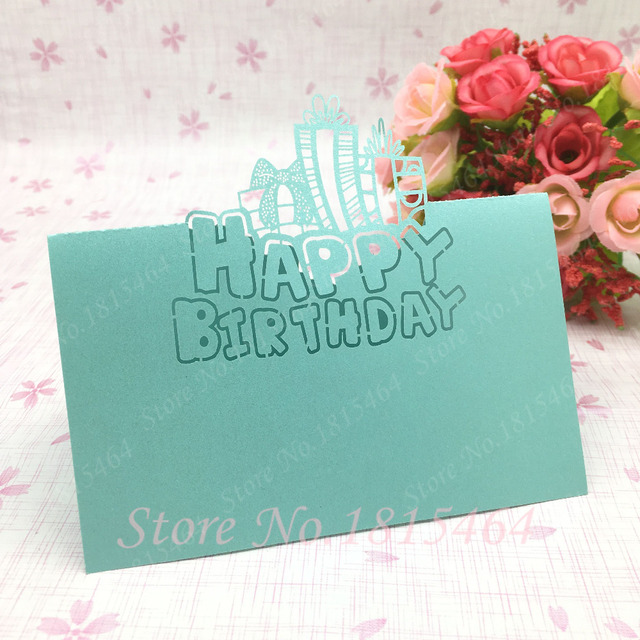 50pcs Diy Birthday Table Name Cards Place Name Cards Laser Cut Happy