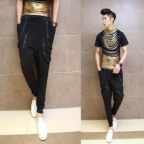 New Men S Clothing Metrosexual Saggy Pants Fashion Multi Pocket