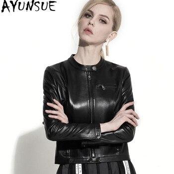 AYUNSUE Motorcycle Leather Jackets New Fashion Real Sheepskin Coat Female Spring 2018 Black Genuine Leather Jacket Women WYQ1342 leather jacket