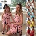 Платье для мамы и дочки  летняя повседневная одежда для мамы и дочки  короткие платья с вырезом на плечах  одинаковые комплекты  платье с рук...