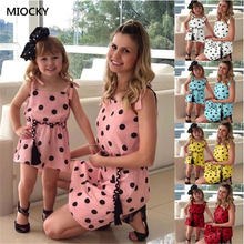 Summer mother daughte Dress 2019 mommy and me clothes Shoulders Off Short Casual Dress matching outfits O-neck Sleeve dress E045 linda johnston o alias mommy