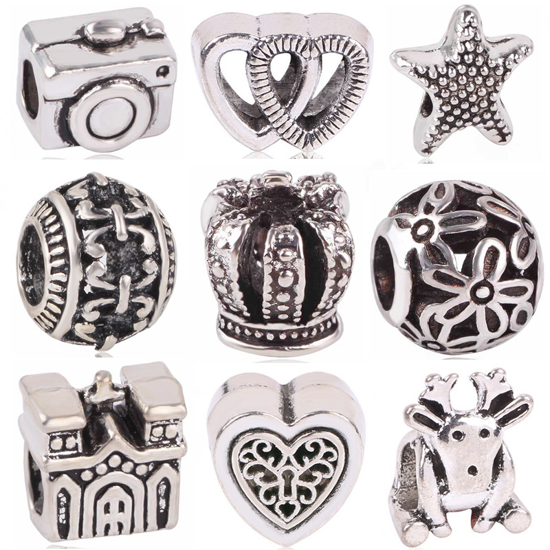 Ranqin New Original Antique Silver Softball Camera Elk Castle Bead Charm European Fit Pandora Charms Bracelets DIY Women Jewerly