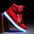 2016 Новый Свет Обувь Высокий Верх Мужская Zip Повседневная Взрослых Light Up Светящиеся Теннис Моды Usb Zapatillas Con Luces Светящиеся Обуви