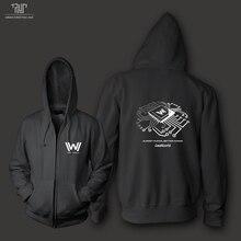 Westworld original design chest logo high quality zipup hoodie sweatshirts men unisex 82% cotton fleece inside free shipping