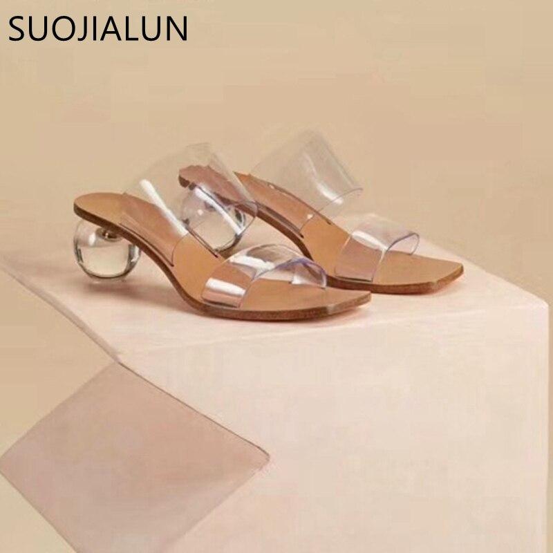 SUOJIALUN 2019 New Brand Women Slipper Summer Geometric Heel Women Beach Slippers Transparent PVC Sandals Square Toe Slides(China)