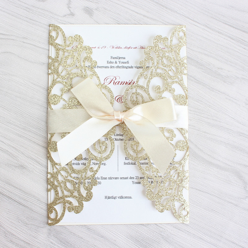 Luxury wedding invitation glittery gold silver laser cut wedding card with butterfly ribbon free printing free