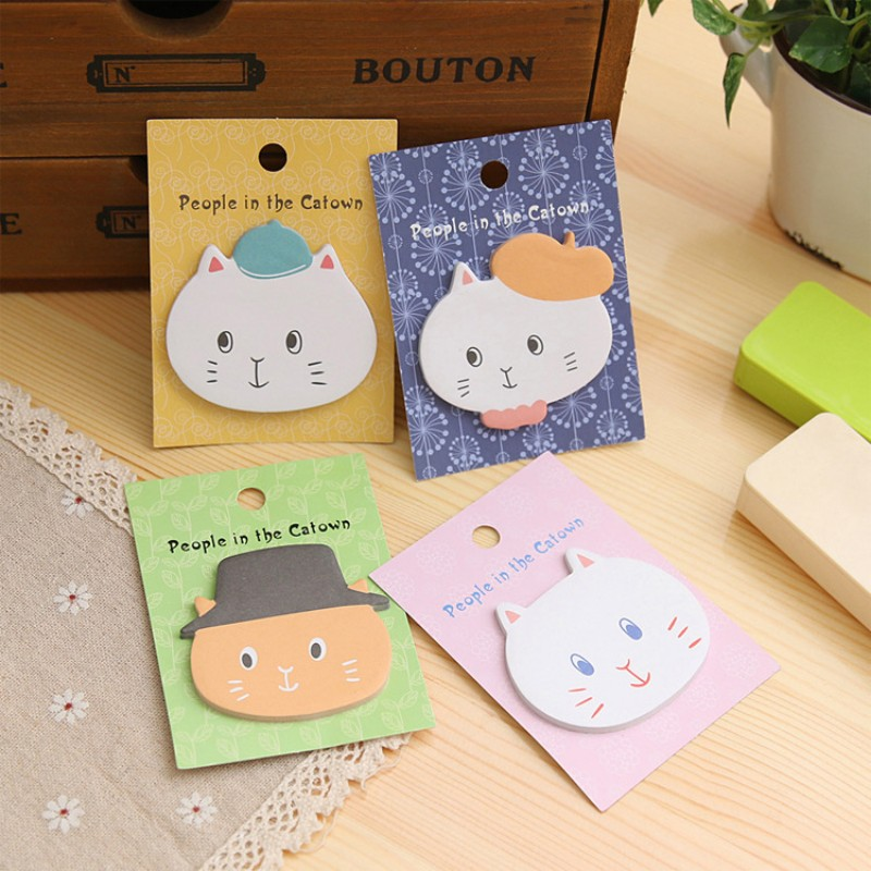 8 pcs/lot Cute Cat Memo pads Post it Kawaii Angola cat town notepad stickers Korean stationery kids gift office School Supplies