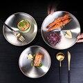 Металлическая тарелка из нержавеющей стали  салатная тарелка  плоская тарелка  Европейский поднос для завтрака  двухместная десертная посу...