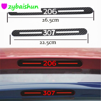 1pcs Carbon Fiber Stickers And Decals High Mounted Stop Brake Lamp Light Car Styling For Peugeot 307 peugeot 206 Car Accessories image