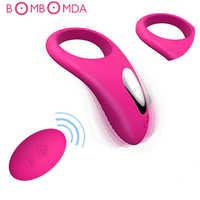 Dildo Vibrator USB Recharge Delay Cocking Vibrating Couple Sex Toys Men Remote Control Vibrator Delay Premature Ejaculation Ring