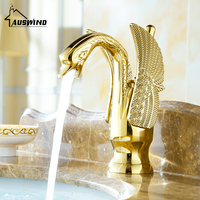 Gold Swan Basin Tap Ti pvd Brass Ceramic Faucet Plate Spool Holder Deck Mounted Single Handle Ceramic Copper Basin Faucets