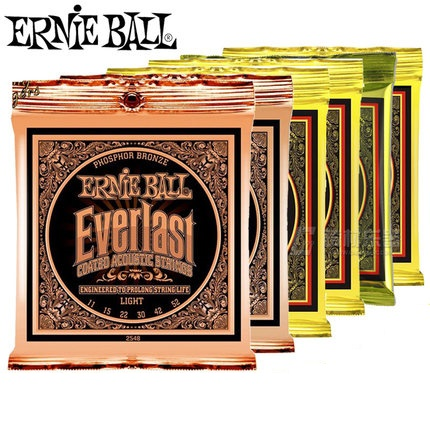 Ernie Ball Ever-last Coated Phosphor Bronze Acoustic Guitar Strings 2548 2550 2554 2556 2558 2560 d addario exp16 american made coated phosphor bronze acoustic guitar strings light 12 53