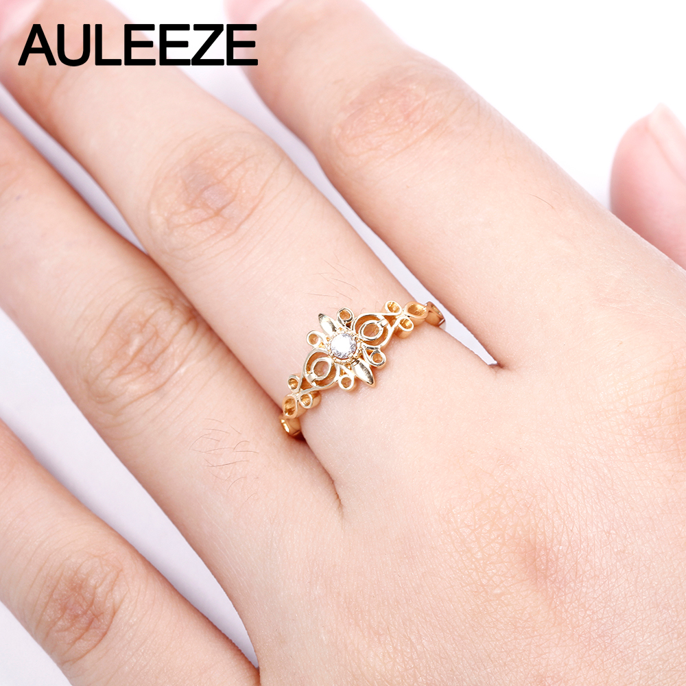 AULEEZE Romantic Alice Genuine Natural Diamond 18K 750 Yellow Gold ...