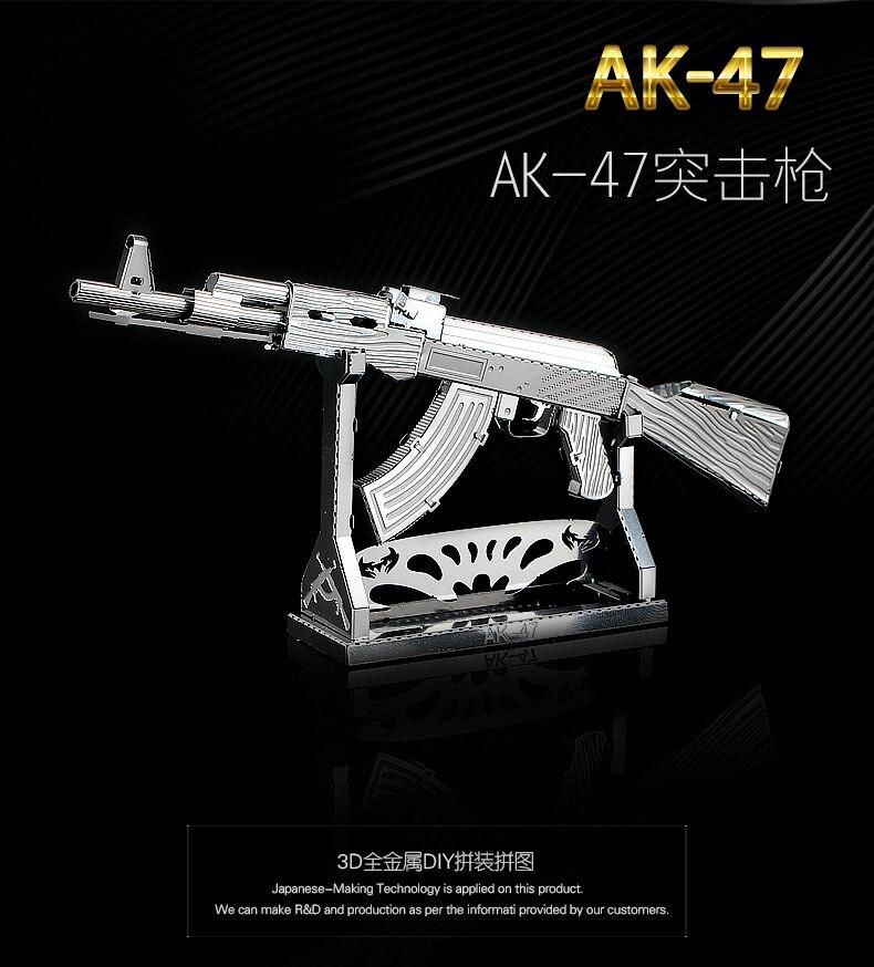 HK NANYUAN AK-47 Puzzle 3D jouets assemblage en métal modèle une Collection de Fans militaires 1 feuille fusil d'assaut semi-automatique