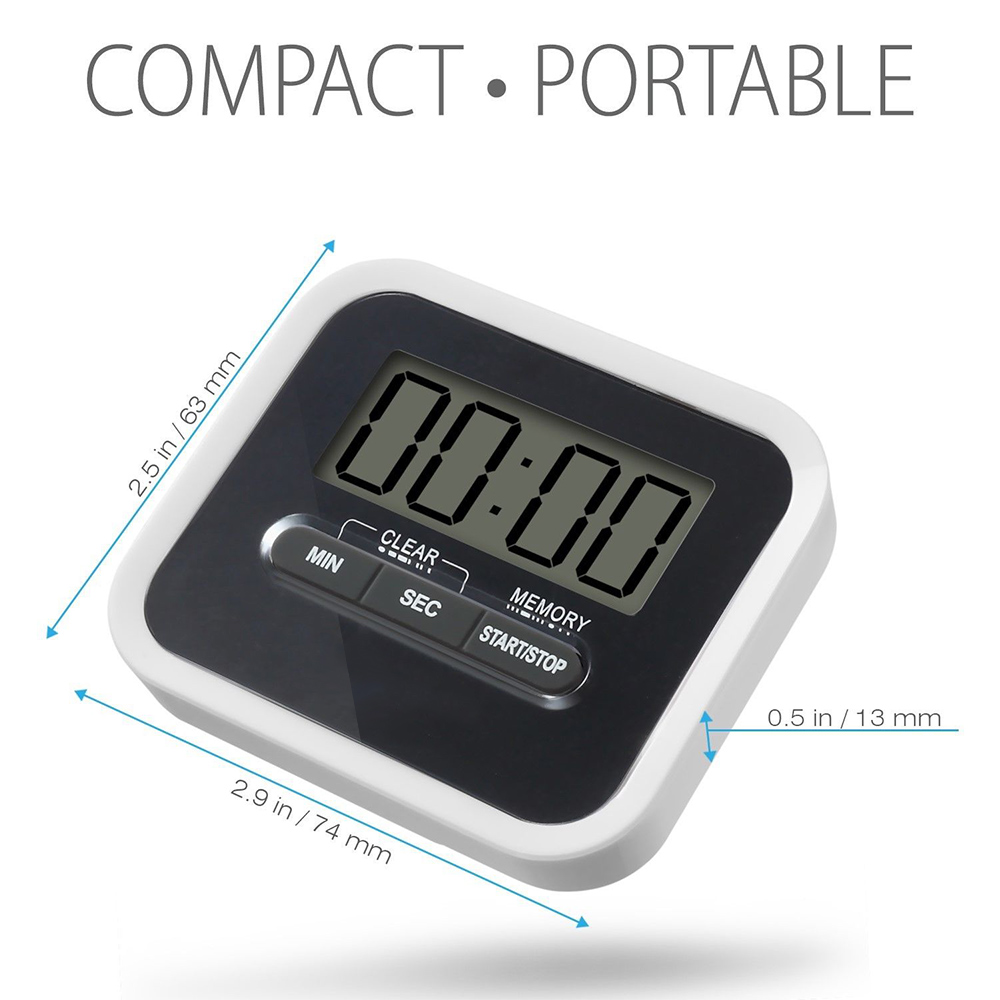 Digital Timer Solar Power Magnetic Portable Loud Alarm For Kitchen Cooking Baking TB Sale