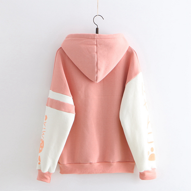 Image 4 - Japanese Kawaii Pink Sweatshirt Women Harajuku Anime Cat Clothes Mori Girl Preppy Warm Lovely Cute Paw Graphic Pullover MoletomHoodies & Sweatshirts   -