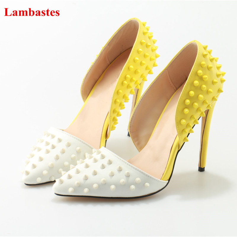 2018 Pointed Toe Yellow and White Rivet Design Women Pumps Thin High Heel Zapatos Mujer Women Party Wedding Pumps Stiletto Shoes stiletto heel pointed toe pumps