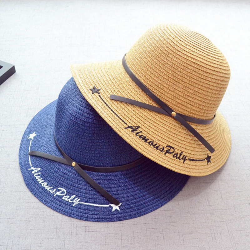 Coxeer Brand 2018 Letter Embroidery Cap Big Brim Ladies Summer Straw Hat Youth Hats For Women Shade Sun Hats Girl Beach Hat Sale