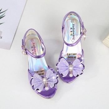 Детские сандалии для девочек, новые летние красивые сандалии для девочек, обувь на высоком каблуке с бантом и стразами, От 5 до 13 лет