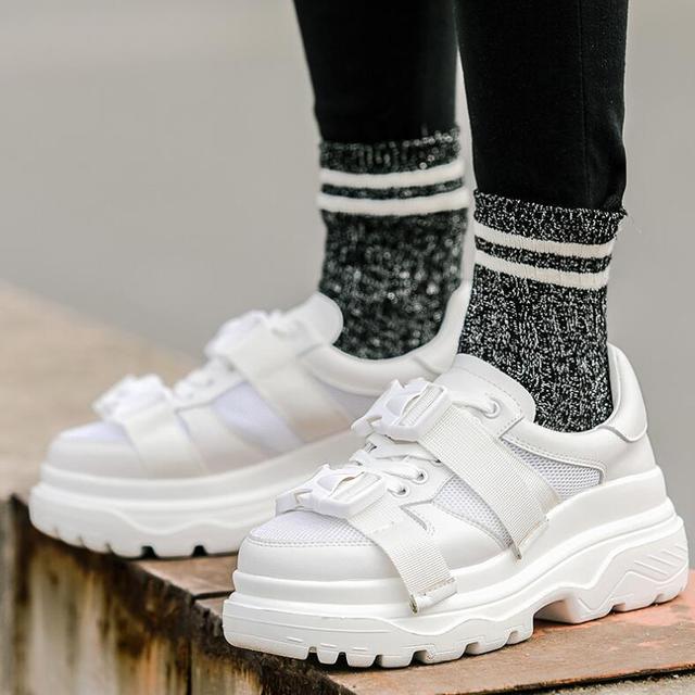 Сетка Для женщин на платформе папа кроссовки 2018 мода пряжки Для женщин без каблука женская обувь для ходьбы Повседневное обувь Tenis женская обувь
