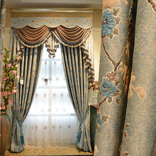 Custom Made Luxury Palace Flocked Curtain for Living Room Tulle Window Curtains Chenille Flannelette Eco Friendly Curtains