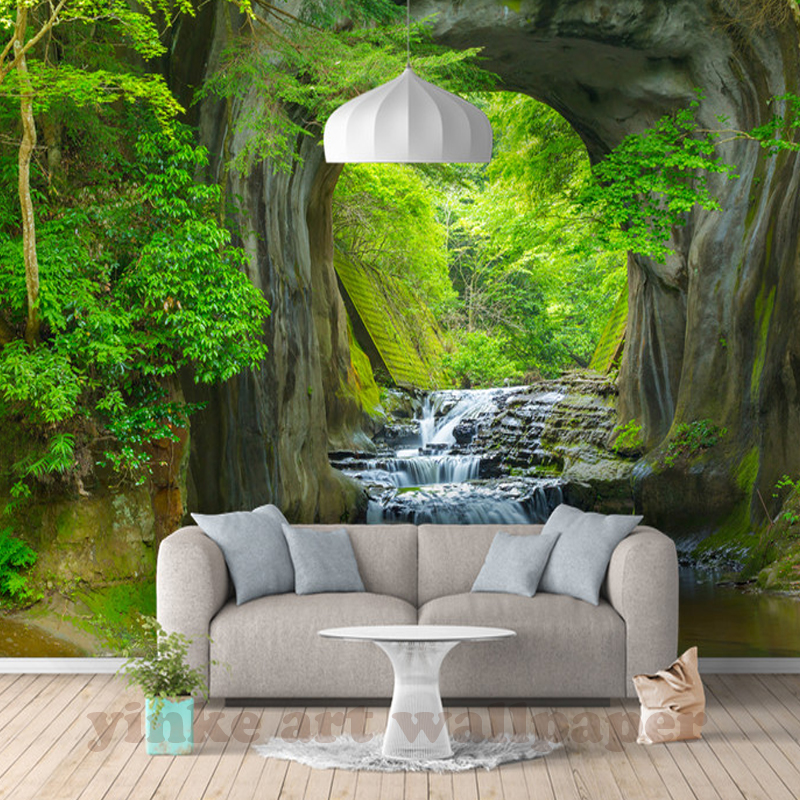 wall 3d walls mural scenery forest landscape custom living paper decor rill fresh wallpapers larger