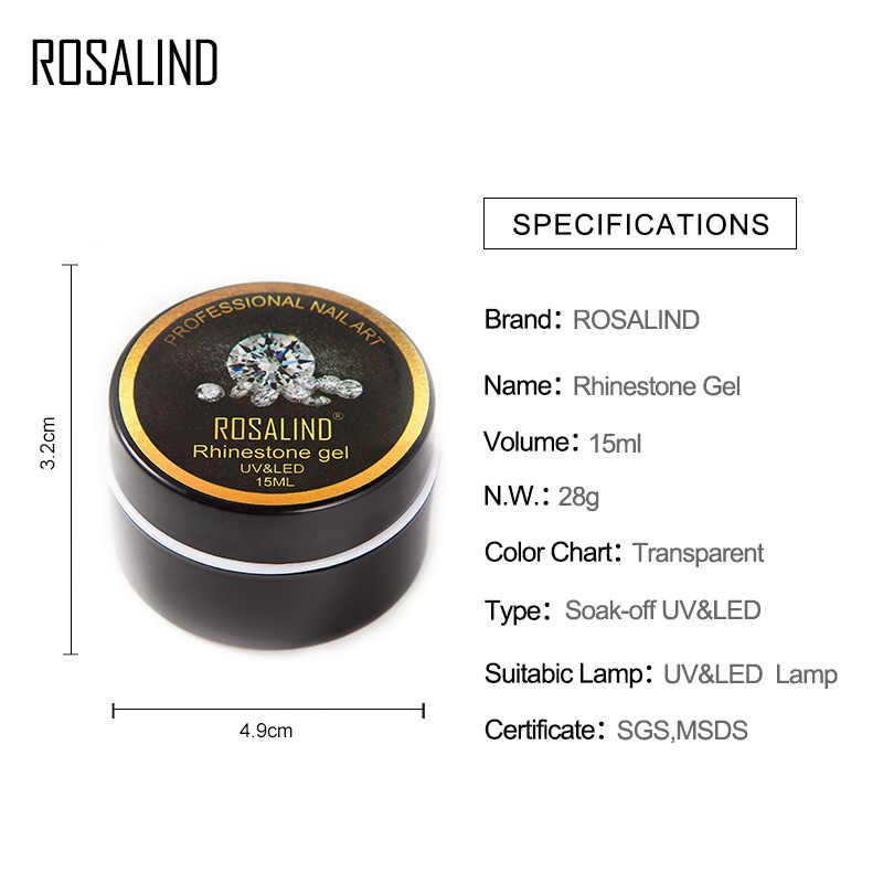 ROSALIND 15 ml Rhinestone เจลเล็บ Polish Soak off เจลเคลือบเงาสำหรับเล็บ UV หลอดไฟ LED กาวเหนียวเล็บ lacquer