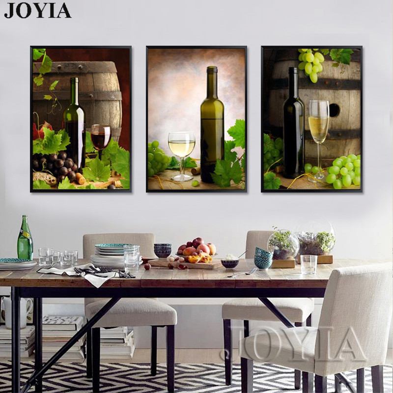 wine wall art decorating dining room | Modern Style Canvas Painting Set White Wine Barrels Large ...