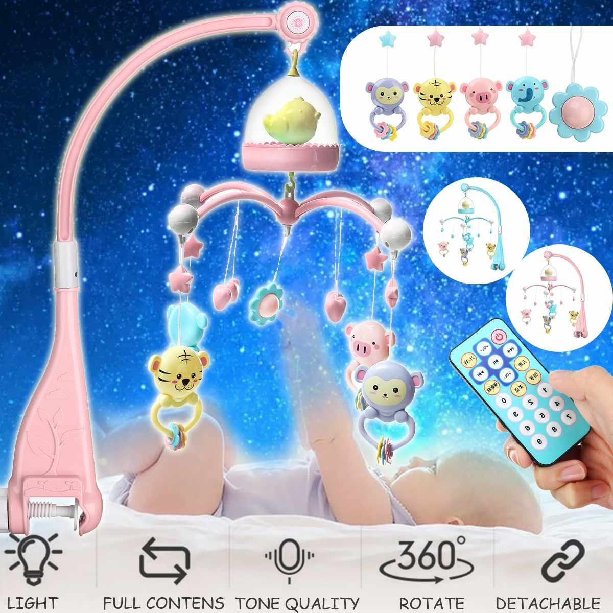 Newborn Baby Toys 0 24 Months Crib Mobile Musical Bed Bell With Animal Rattles Projection Cartoon Early Learning Kids Toy