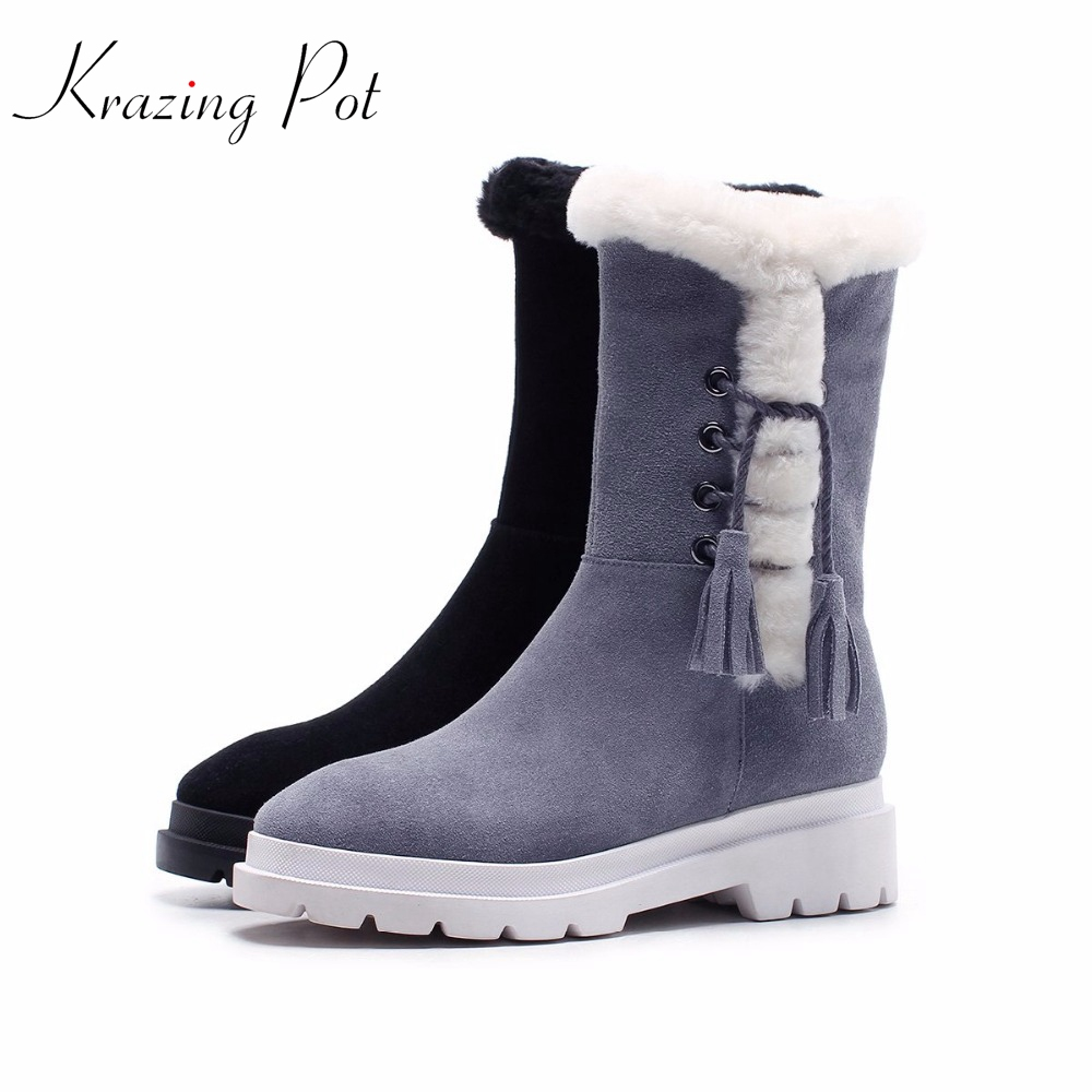 Krazing Pot cow suede fringe tassel leather boots platform zipper square med heels rivets round toe women mid-calf boots L2f7 hot selling chic stylish black grey suede leather patchwork boots mid calf spike heels middle fringe boots side tassel boots