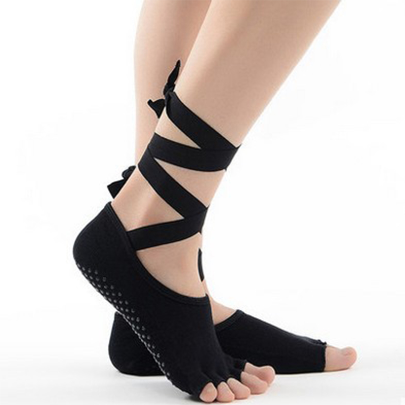 ★  Профессиональные Yoga Dance Носки нескользящие Пять Toe Голые Носки Женщин Yoga Lacing Dance Носки П ①